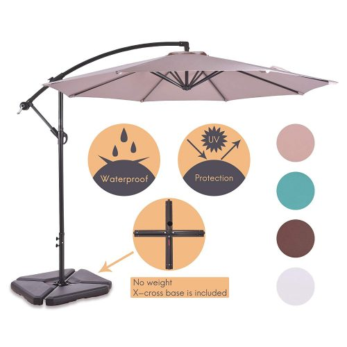 ALLURVEN 10 Feet Aluminum Offset Patio Umbrella,8 Steel Ribs,100% Polyester