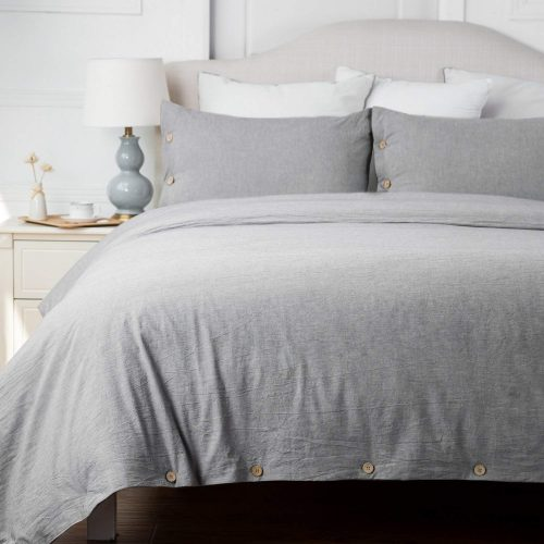 Bedsure Cotton Duvet Cover Sets Queen Full Size Grey