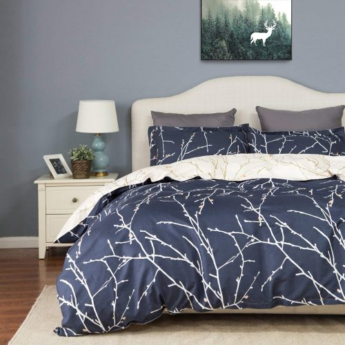 Bedsure Duvet Cover Set with Zipper Closure-Branch and Plum Blue Printed