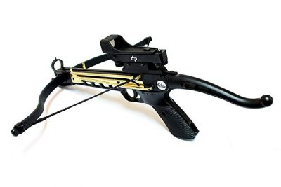 1. 80lbs Self Cocking Crossbow with 15 Arrows and Scope by Last Punch: