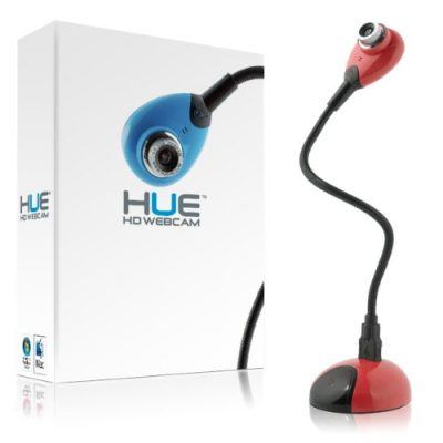 1. Hue HD USB webcam camera with built-in mic for Windows & Mac (red):