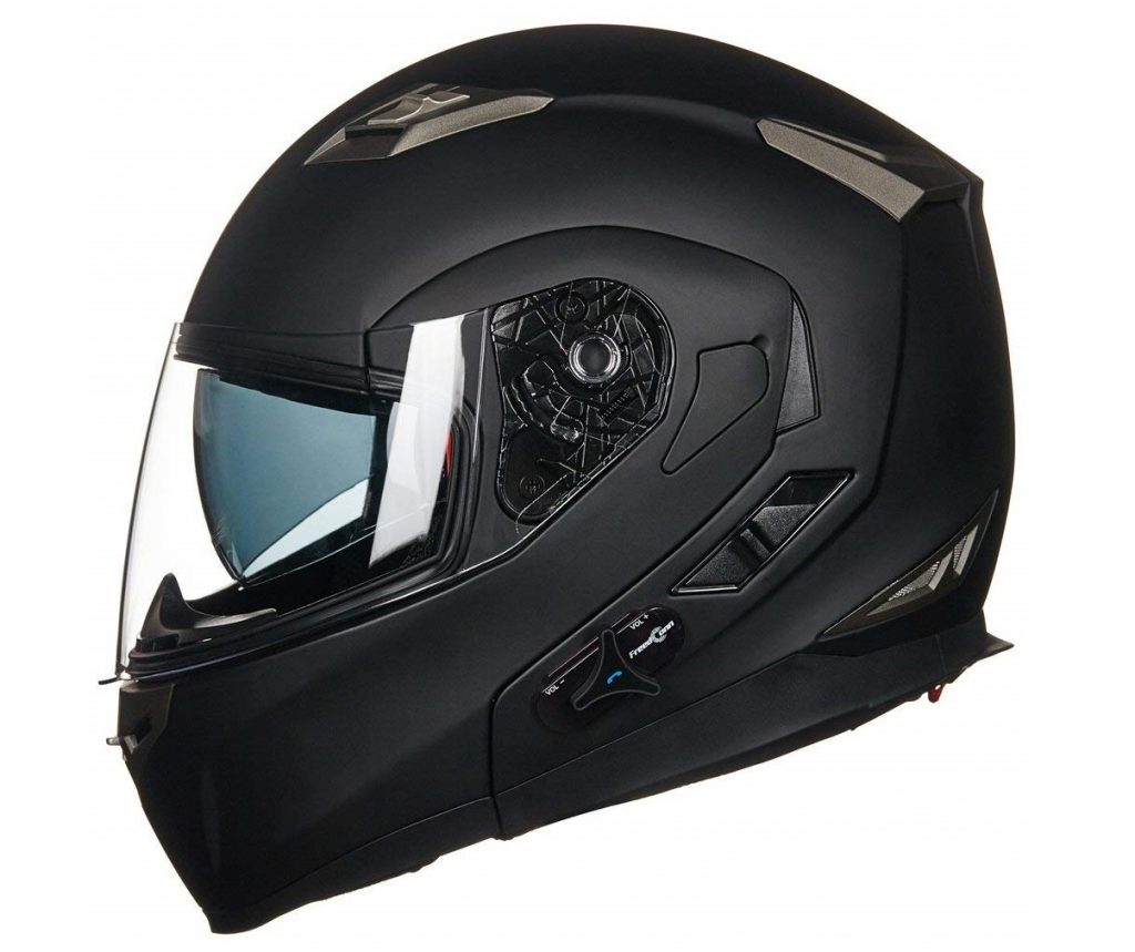 8. ILM Bluetooth Integrated Modular Flip up Full Face Motorcycle Helmet Sun Shield Mp3 Intercom (XL, MATTE BLACK)