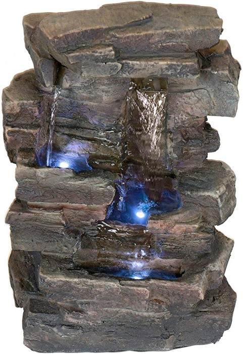 #10 Alpine Corporation 4-Tier Cascading Tabletop Fountain With LED Lights