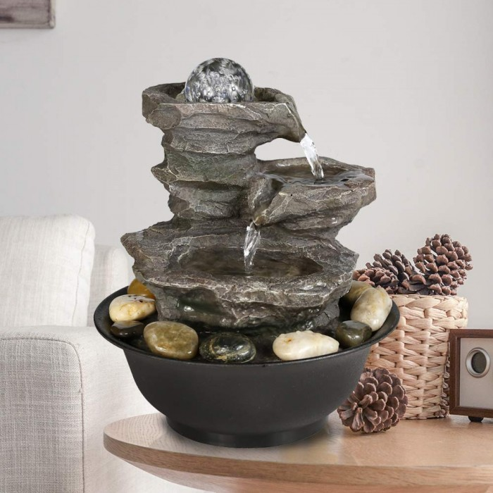 #9 Peterlvan 4-Tier Cascading Resin Rock Falls Table Top Water Fountain