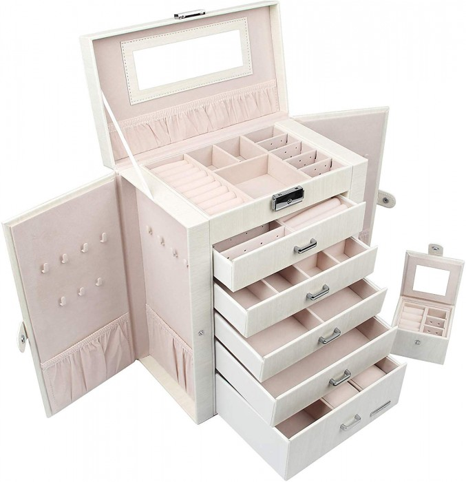 HOMDE 2 IN 1 HUGE JEWELRY BOX/ORGANIZER