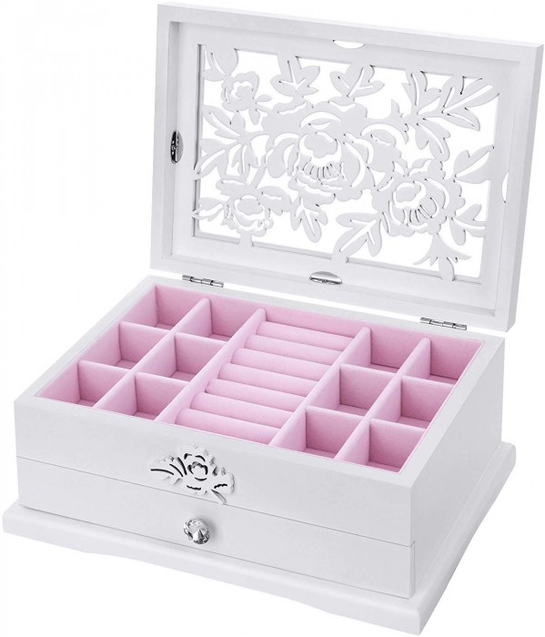 SONGMICS GIRLS JEWELRY BOX WOODEN FLOWER CARVING