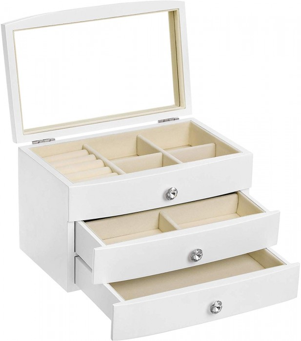 SONGMICS JEWELRY BOX, WOODEN JEWELRY CASE, 3 LAYER ORGANIZER