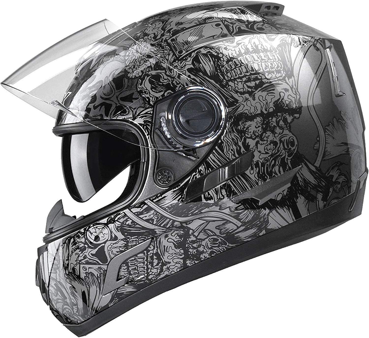 GLX Unisex-Adult GX15 Lightweight Full Face Motorcycle Street Bike Helmet with Internal Sun Visor DOT Approved (Skull, Large)